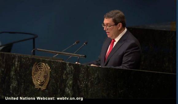Cuban FM Presents at the UN Resolution against the U.S. Blockade