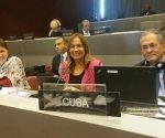 Parlamentarios cubanos en Ginebra (de izq. a der.) Yolanda Ferrer, Ana María Mari Machado y Lázaro Barredo.