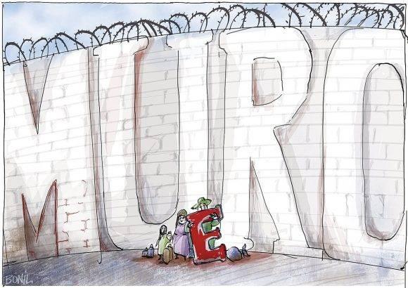 El Muro de EEUU en la frontera con México, visto por el caricaturista de El Universo, Ecuador.