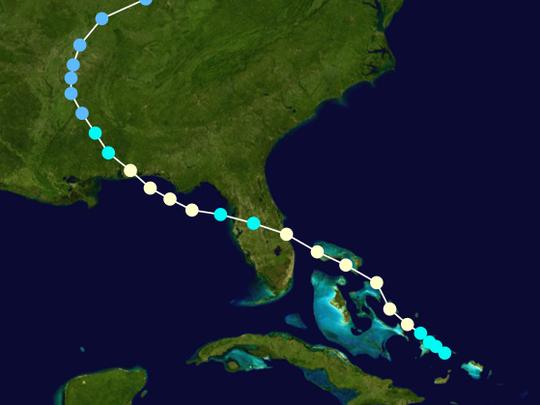 El Huracán Erin tuvo un doble impacto en Florida en 1995. Foto: Phil Klotzbach, Colorado State University/ USA Today