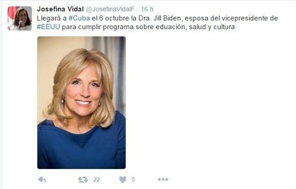 Josefina Vidal anuncia en twitter visita de Jill Biden, esposa del vicepresidente norteamericano.