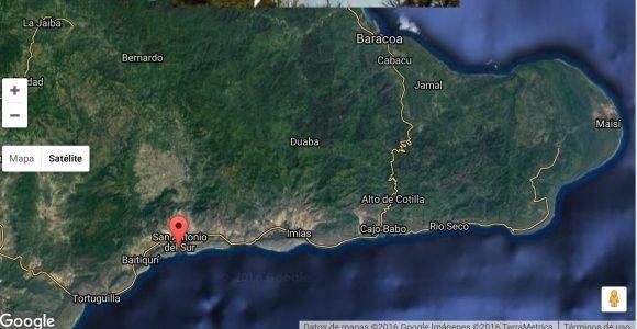La nariz de nuestro precioso Caimán. En el mapa, se marca la desembocadura del río Sabanalamar.