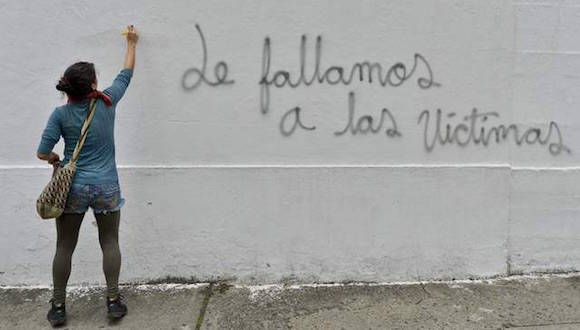 Graffiti en Cali, Colombia. Foto: Afp