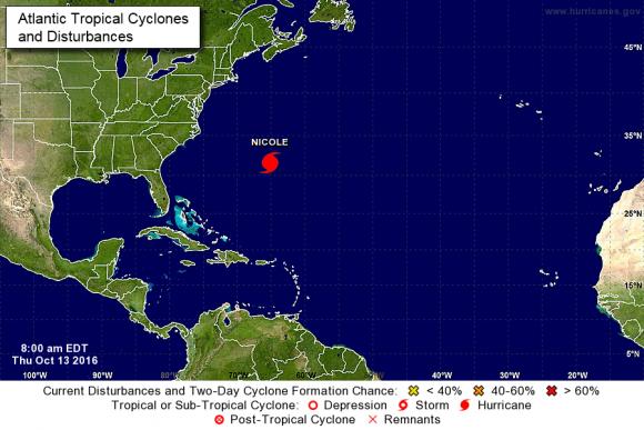 Nicole es un huracán categoría 4, la misma escala que alcanzó Matthew cuando tocó las costas de Florida, Estados Unidos. Foto: NOAA.