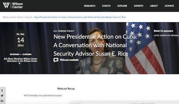 Cubadebate no pudo acceder en directo a la transmisión del discurso de Susan Rice, que estaba bloqueado en la web para los usuarios en Cuba.