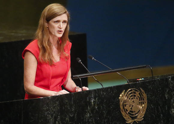 U.S. Ambassador to the U.N. Samantha Power speaks during a meeting of the U.N. General Assembly, Wednesday Oct. 26, 2016 at U.N. headquarters. The United States has abstained for the first time in 25 years on a U.N. resolution condemning America's economic embargo against Cuba, a measure it had always vehemently opposed. (AP Photo/Bebeto Matthews)