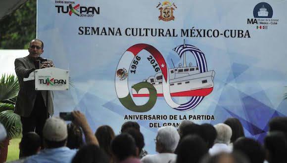 Se inauguró en Tuxpan la semana cultural para celebrar el 60 aniversario de la partida del yate Granma del puerto de Tuxpan hacia Cuba. Foto Sergio Hernández Vega