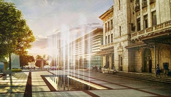 Esta imagen es el proyecto futuro de la Estación Central con una fuente y parque a la entrada, y a su derecha una terminal de ómnibus provinciales.