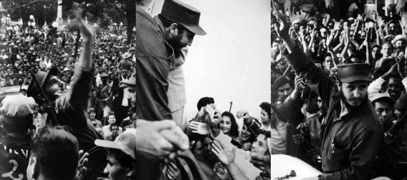 Fidel saluda al pueblo villaclareño en el parque Vidal.