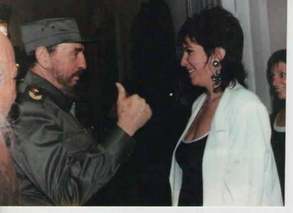 Cecilia Rosetto y Fidel Castro.