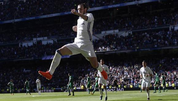 Gareth Bale celebra uno de sus goles ante el Leganés. Foto tomada de MARCA.