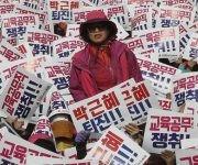 Manifestantes en Corea del Sur exigen fin del mandato de la presidenta. Foto: AP.