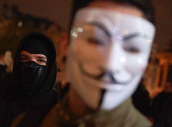 Marcha del Millón de Máscaras. Foto Niklas Halle'n/ AFP.