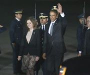 Obama a su llegada a Perú, recibido por la vicepresidenta, Mercedes Aráoz. Foto: AP/ Esteban Felix.