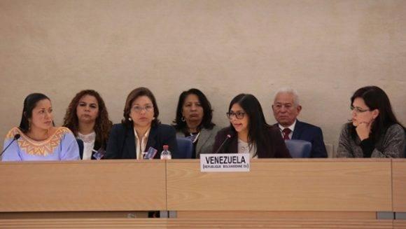 Delegación de Venezuela en la presentación del informe del EPU ante Naciones Unidas. Foto: @vencancilleria
