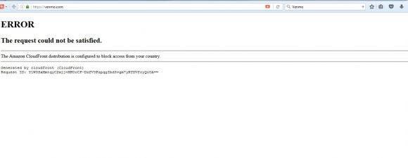 La página de Venmo bloqueada para Cuba.