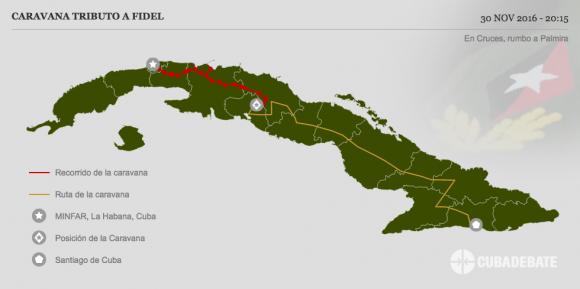 Caravana #TributoaFidel entra a Cruces para continuar recorrido hacia Palmira y a la ciudad de Cienfuegos
