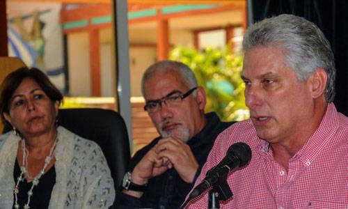 El Vicepresidente Primero, Miguel Díaz-Canel, en el encuentro. Foto: ACN