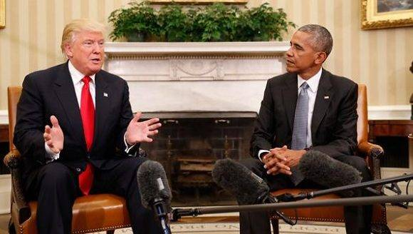 El presidente electo, Donald Trump, se reune en la Casa Blanca con el mandatario, Barack Obama. Foto: AP.