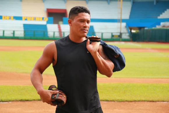 Cabrera antes de la sesión de entrenamiento. Foto: Reynaldo Cruz/ Universo Béisbol.