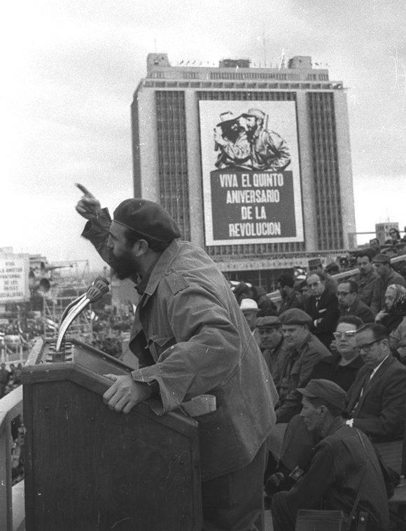 Fidel en el V aniversario del Triunfo de la Revolución Cubana. Foto: Archivo.