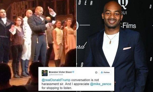 """Los actores de """"Hamilton"""". El actor Brandon Victor Dixon respondió a Trump en un tuit: conversación no es hostigamiento, señor."""