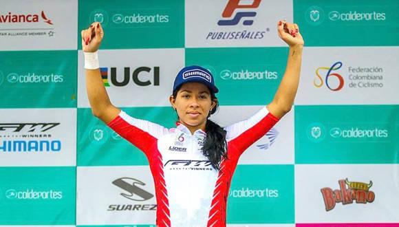 Marlies Mejías, campeona por puntos y en metas volantes de la I Vuelta Ciclística a Colombia. Foto: Trabajadores.
