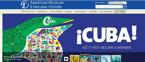 Así promociona su exposición Cuba el sitio web del American Museum of Natural History de Nueva York (AMNH).