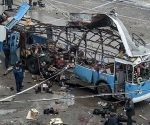 ATTENTION EDITORS - VISUAL COVERAGE OF SCENES OF INJURY OR DEATH  Investigators work at the site of a blast on a trolleybus in Volgograd December 30, 2013. A bomb blast ripped a trolleybus apart in Volgograd on Monday, killing 14 people in the second deadly attack in the southern city in two days and raising fears of further violence as Russia prepares to host the Winter Olympics.  REUTERS/Stringer (RUSSIA - Tags: CIVIL UNREST CRIME LAW DISASTER TRANSPORT) TEMPLATE OUT