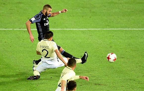 Benzema marcó el primer gol en el descuento, justo antes del descanso (45+1). Foto:  Toru Yamanaka/ AFP.