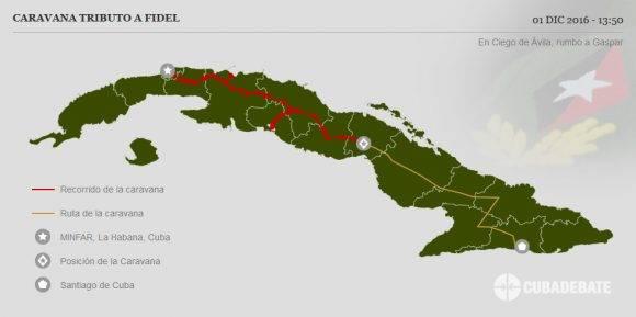 Caravana #TributoaFidel entra a la ciudad de Ciego de Avila luego seguirá rumbo a la provincia de Camagüey