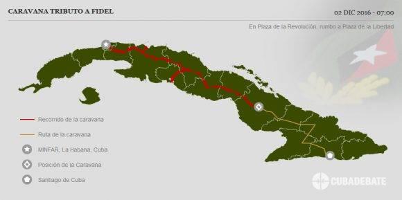 Caravana #TributoaFidel inicia trayecto desde la Plaza de la Revolución Ignacio Agramonte a la Plaza de la Libertad en la ciudad de Camagüey.