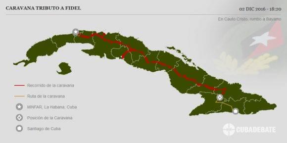 Caravana #TributoaFidel entró a la provincia de Granma, se encuentra en el poblado de Cauto Cristo para seguir rumbo a la ciudad de Bayamo.