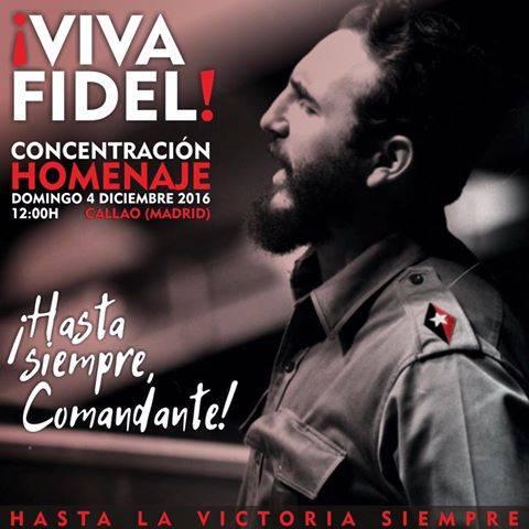 Convocan a concentración a favor de Fidel Castro en centro de Madrid para próximo domingo.