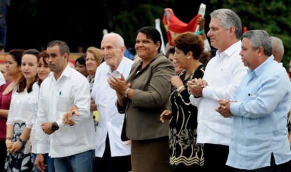 Díaz-Canel presidió el acto de hoy. Foto. Omara Mederos/ ACN.