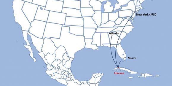 Desde Nueva York, Atlabta y Miami llegarán los vuelos de Delta a La Habana. Imagen: Delta.