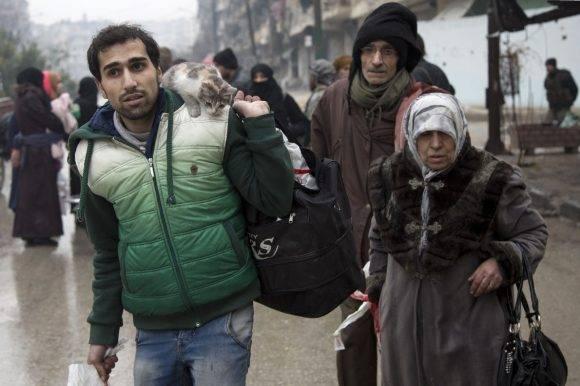 Evacuación de civiles en Alepo. Foto: AFP.