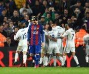 Lionel Messi, del FC Barcelona, cabizbajo después del gol de Ramos. Foto: David Ramos/ Getty Images.