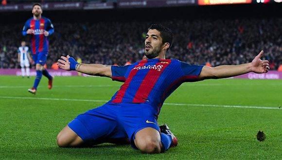 Luis Suárez celebra su gol ante el Espanyol. Foto: Getty Images.