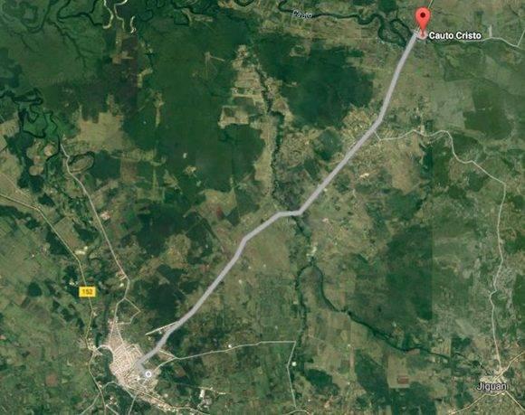 Recorrido que le resta a la caravana durante la jornada de hoy, de Cauto Cristo a Bayamo. Imagen: Google Maps.