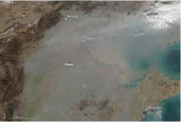 Desde el satélite, así podía verse el smog en el norte de China. Foto tomada de Tiempo.