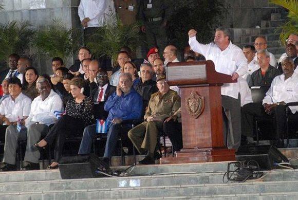 Ulises Guilarte, secretario general de la CTC, durante su discurso en el homenaje a Fidel en Santiago de Cuba.