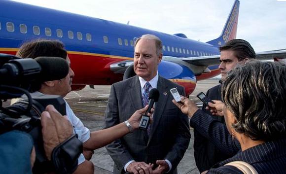 Con 156 pasajeros a bordo la aerolínea estadounidense Southwest Airlines inauguró hoy su primer vuelo a La Habana. Foto: Marcelino Vázquez/ ACN