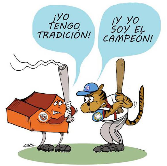 El equipo de Villa Clara simbolizado por los Azucareros y los Tigres de Ciego de Ávila, discutirán la semifinal de la 56 Serie Nacional de Béisbol, Cuba, el 28 de diciembre de 2016. ACN CARICATURA/Osvaldo GUTIÉRREZ GÓMEZ/ogm