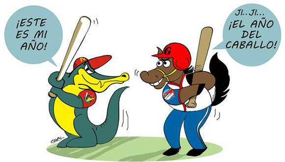 El equipo de Matanzas simbolizado por los Cocodrilos y los Alazanes de Granma, discutirán entre ellos una de la Semifinal de la 56 Serie Nacional de Béisbol, Cuba, el 28 de diciembre de 2016. ACN CARICATURA/Osvaldo GUTIÉRREZ GÓMEZ/ogm