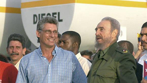 Fidel y Díaz-Canel en Holguín. Foto: Ahora.