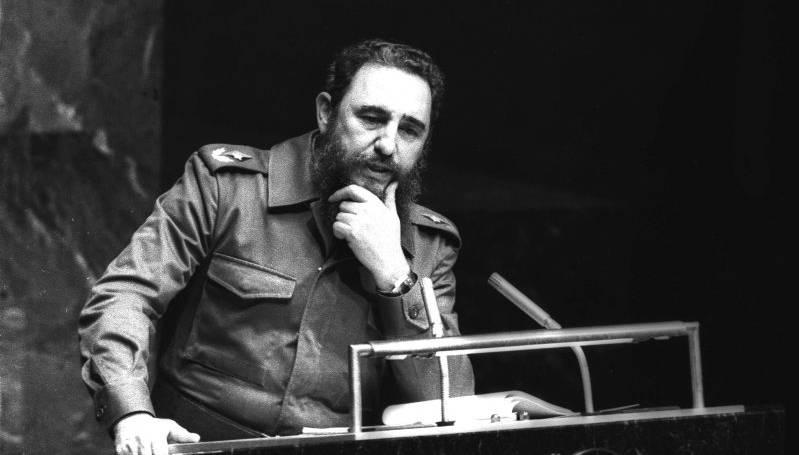 Fidel pronuncia un memorable discurso en el XXXIV Periodo de Sesiones de la Asamblea General de ONU, como presidente de los Países No Alineados Foto: Joaquin Viñas Fecha: 12.10.1979 Fuente: PL