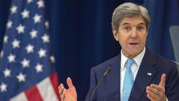El secretario de Estado de Estados Unidos, John Kerry, ofrece un discurso sobre la paz en Oriente Medio, en el Departamento de Estado en Washington (capital), 28 de diciembre de 2016. Foto: Hispantv.