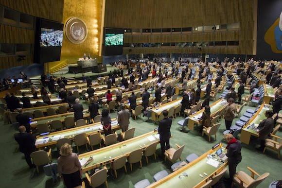 En Naciones Unidas, un minuto de silencio por Fidel. Foto: Oficina de Prensa de la ONU