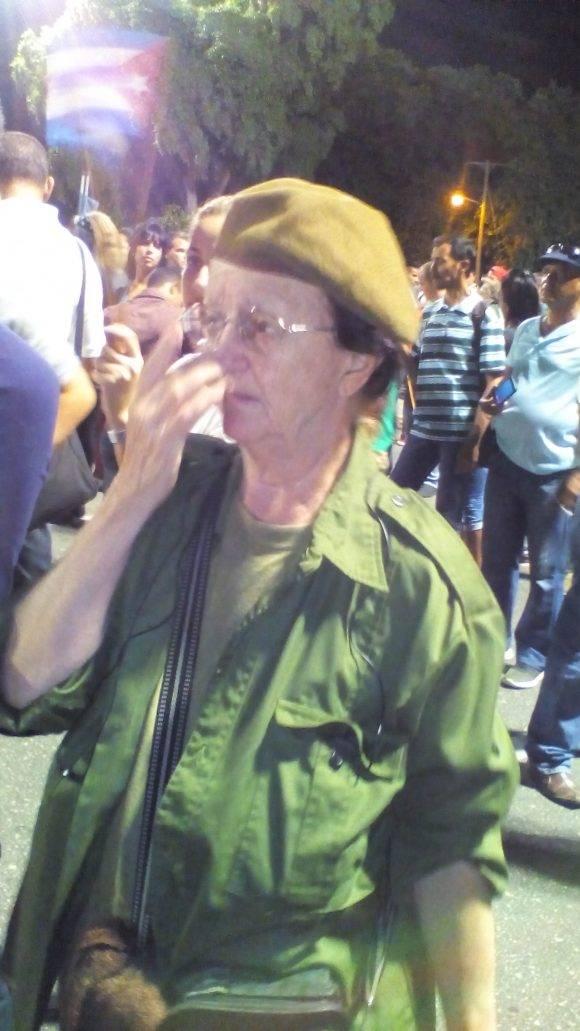 Natacha Santiago, miliciana desde 1961, Plaza de la Revolución, Habana
